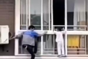 """四川自贡一名女童被困6楼窗外空调维修工爬窗救人"""""""
