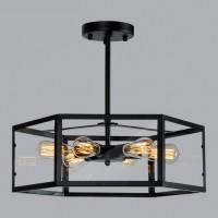 led吸顶灯创意个性复古餐厅灯咖啡厅酒吧工业风六角玻璃屋铁艺灯
